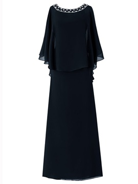 Round collar chiffon beaded elegant simple mother dress qi qi daily adult new style