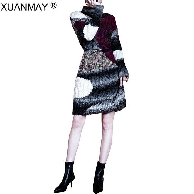 2018 nuevo suéter de cuello alto grueso diseño de moda abrigo suéter ...