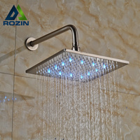 Luxury Color Changing LED Light Bathroom Shower Head with Wall Mount 30cm Shower Arm Brushed Nickel Finished