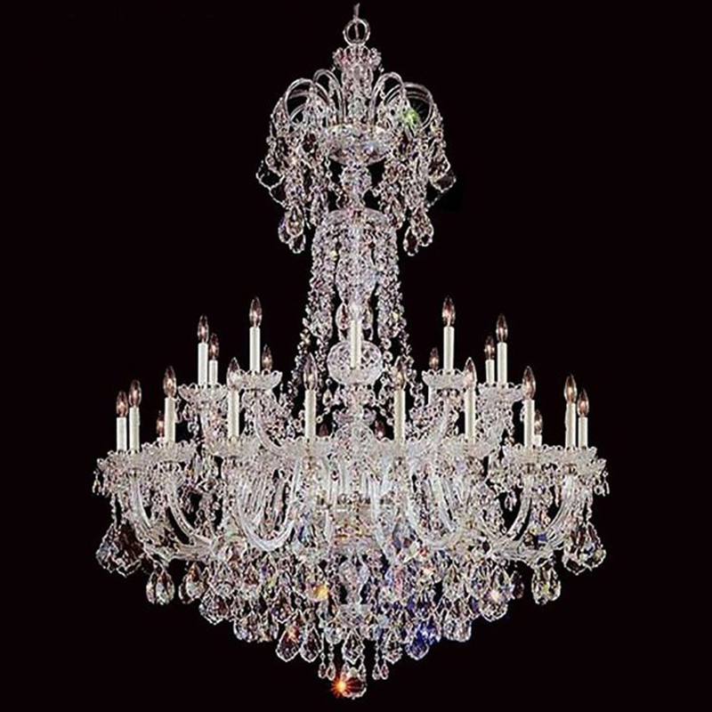Grand Lustre en cristal lumière de luxe lustres lampe couleur claire éclairage Lustre E14 E12 lampe pour salon chambre hôtel