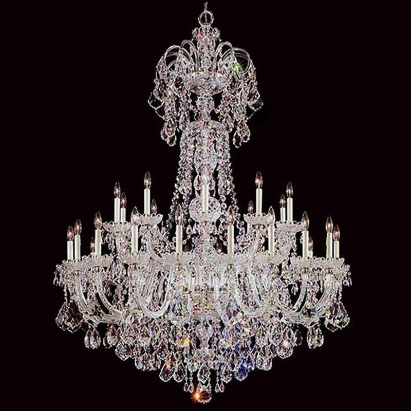 Grande Luz do Candelabro de Cristal Lustres de Luxo Lâmpada Lustre de Iluminação de Cor Clara E14 E12 Lâmpada para Quarto sala de estar Do Hotel