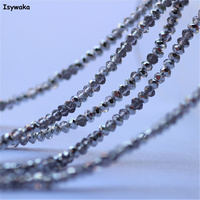 Isywaka mezza argento colore 1980 pz 1mm rondelle austria cristallo sfaccettato perle di vetro allentati del distanziatore branelli rotondi per monili fare