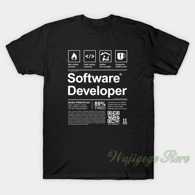 Summer SOFTWARE DEVELOPER LABEL Men T-Shirt Women Cotton T Shirt Short Sleeve Funny Printed Tshirts