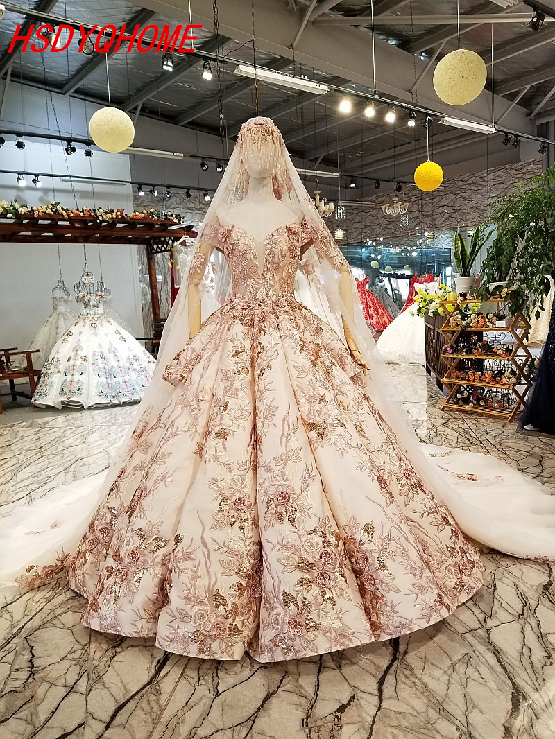 HSDYQHOME Luxury Ball Gown   Evening     dresses   Amazing Prom   Dresses   3D Flower Vestidos Appliques   Evening   party gown