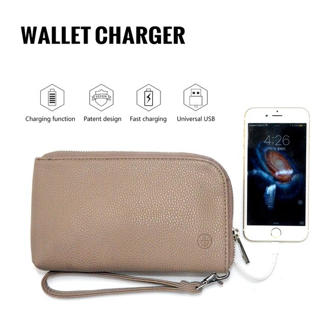 Wallet Bank Clutches Portable Handbag Charger Purse Charging Set 2200mah For Iphone And
