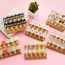 10Pcs/bag Kawaii Wooden Clip Photo Paper Postcard Craft DIY Clips with Hemp Rope Office Binding Supplies Decoration Clip