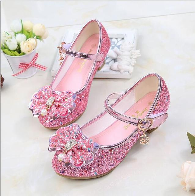 6dd209b9898 Spring Autumn Elegant Dress Shoes Fancy Slippers For 3-12Years Girls  Wedding Dancing Ballet Sandals Kids Rhinestone Heels Shoes