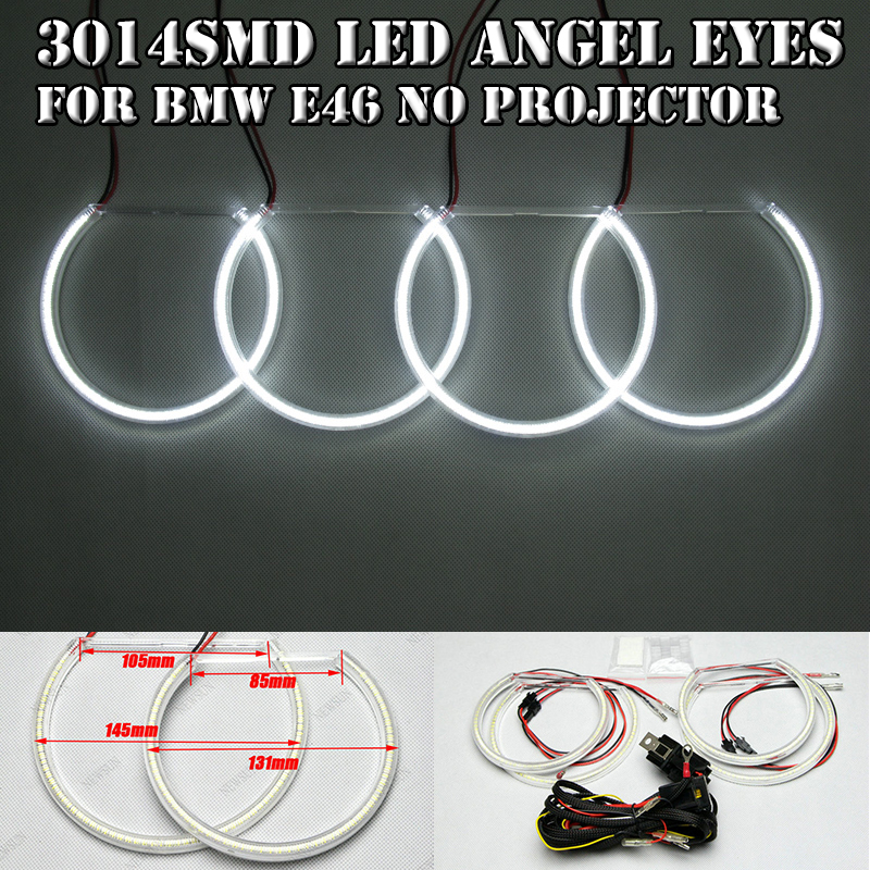 2x 131MM 2x 145MM SMD Led Angel Eyes Halo Rings Kit For Bmw E46 A+B Non Projector White Car Front Headlight DRL Fog Lamp cotton smd led angel eyes rings for bmw e38 e36 e39 e46 smd led halo rings kit for e46 with projector 4 131mm led smd angel eyes