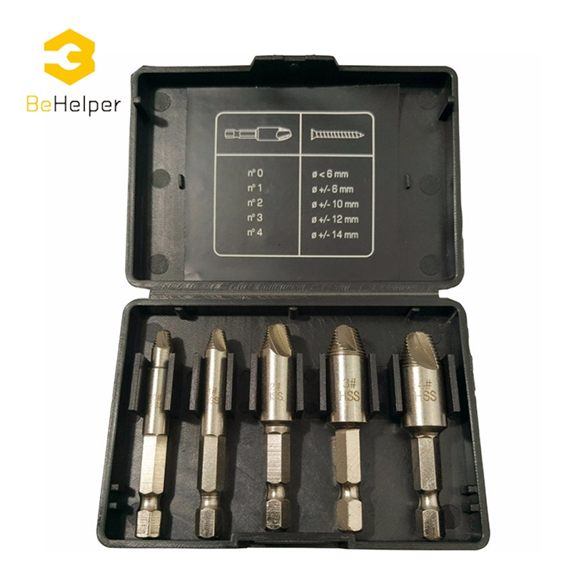 BeHelper 5Pcs/set 1/4 Hex Shank Screw Extractor Set, Broken Stud Damaged Bolt Easy Take Out Remover Drill Bit 4pcs set damaged screw extractor drill set speed out set hex shank work with any drill easy out remove broken screw