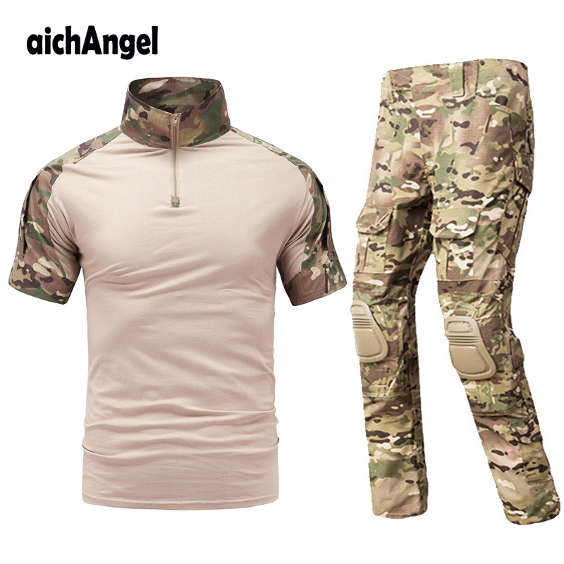 Tactical Gear Army Military Uniform Combat T shirt Plus Pants with knee pads Paintball Uniforme military