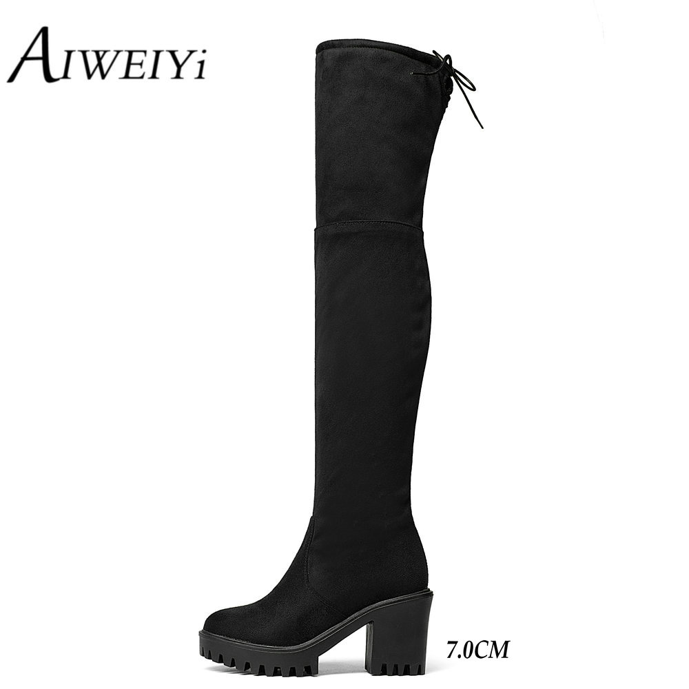 AIWEIYi 2017 Square High Heel Woman Stretch Fabric Over The Knee Boots Women Shoes Winter Ladies Motorcycle Boots Size 34-43 qmn women crystal embellished natural suede brogue shoes women square toe platform oxfords shoes woman genuine leather flats