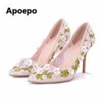 Apoepo суперзвезда насосы роскошный ручной работы из бисера женская обувь пикантные Обувь на высоком каблуке туфли-лодочки Романтический 3D цв...
