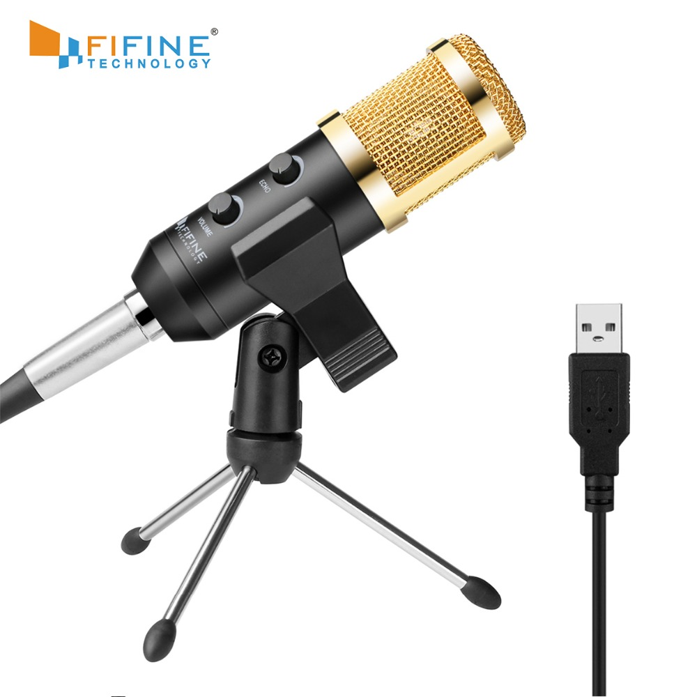 Fifine Plug & Play Desktop USB Microphones For PC/Computer(Windows, Mac, Linux OX), Podcasting, Recording K058