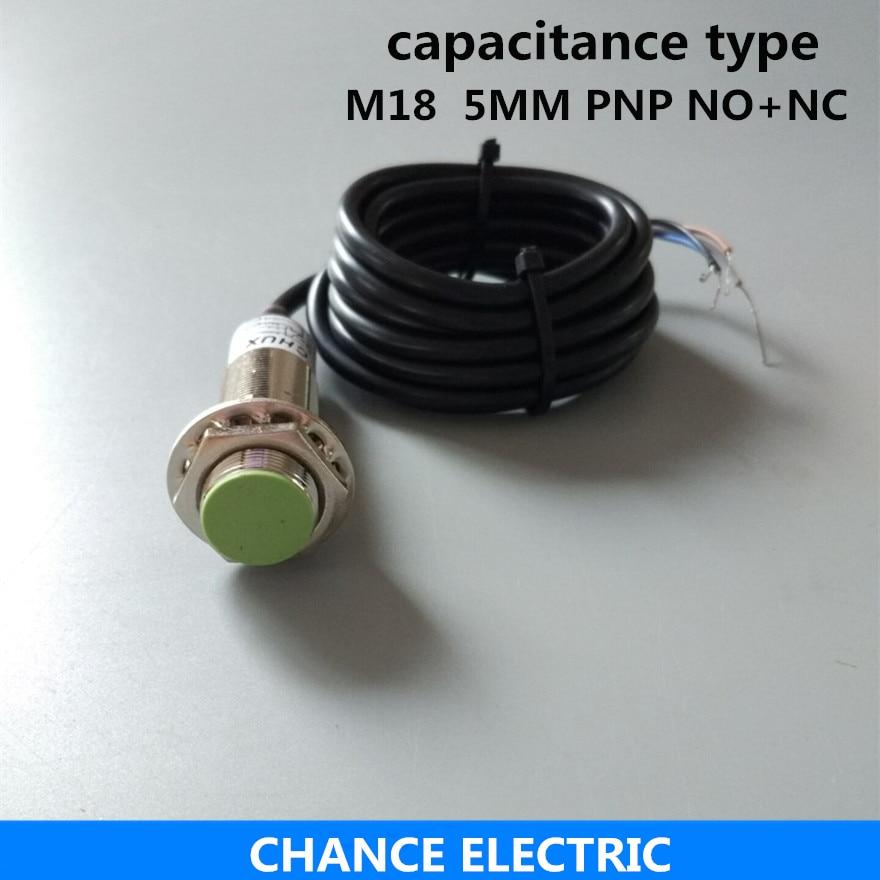 capacitive proximity sensor pnp M18 detect 5mm distance NO+NC LED liquid level capacitance switch (CM18-5-DPC) high quality proximity switch igs204 m18 plug in pnp no inductive