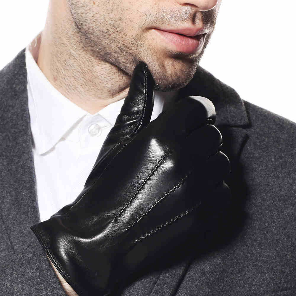 Special offer 2017 men gloves wrist solid black fashion winter glove plus velvet goatskin real genuine