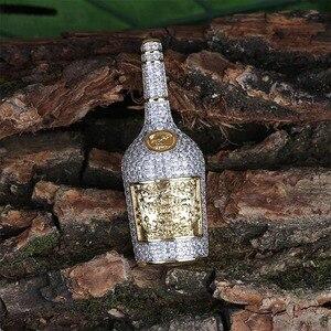 Image 3 - Collier avec pendentif bouteille de Champagne pour hommes, avec chaîne de Tennis, chaîne couleur or argent, style Hip Hop, idée cadeau, bijoux, collection bijoux à breloques