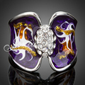 Jenia Elegant Purple Oil Painting Ring for Women White Gold Plated Rhinestone Jewelry XR002