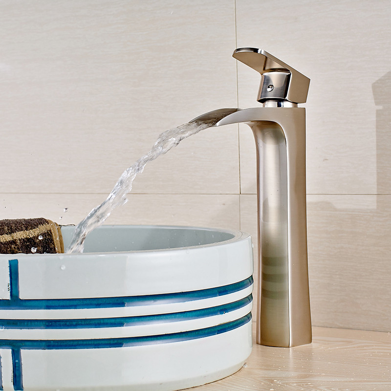 Nickel Brushed Countertop Bathroom Sink Faucet Single Handle Hot and Cold Water Mixer Tap bathroom sink faucet single handle mixer tap hot and cold water mixer tap nickel brushed