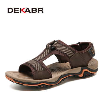 DEKABR Men Sandal Real Leather+Stretch Fabric New Arrival Summer Men Beach Shoes High Quality Breathable Casual Sandal Shoes Men