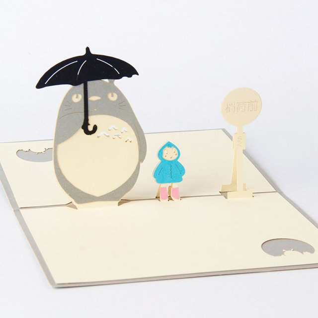 S Home New 3d My Neighbour Totoro Greeting Birthday Cards Pop Up