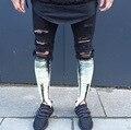 Na altura do joelho buraco rasgado preto mens corredores hip hop jeans skinny homens Slim Fit Calças 2017 Calças Zíper Lateral Para O Sexo Masculino Goggers