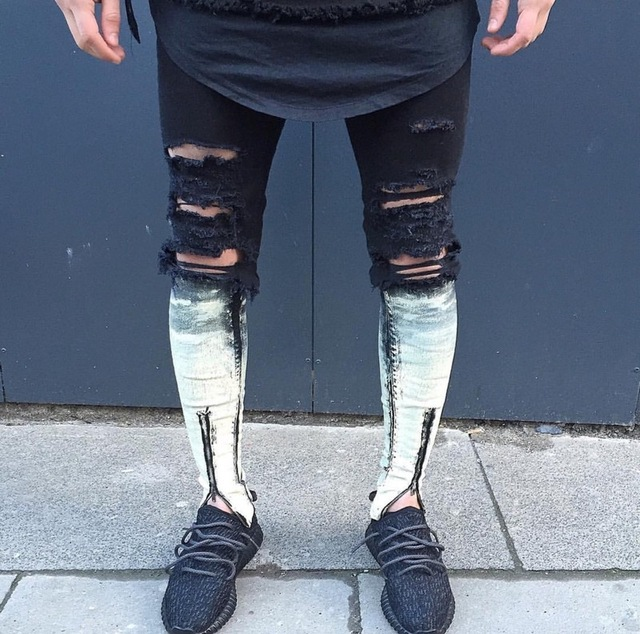 Rodilla agujero rasgado negro mens corredores hip hop jeans ajustados  hombres Slim Fit Pantalones 2017 Pantalones f9ef9a7156a