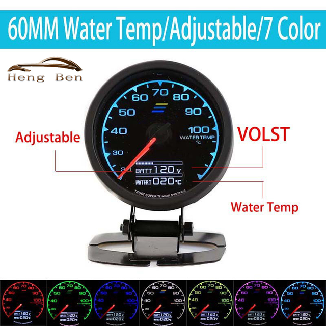 HB 7-Color-in-1 60mm Water Temperature Gauge Meter with LCD Display Racing Auto Parts Water Temp Gauge