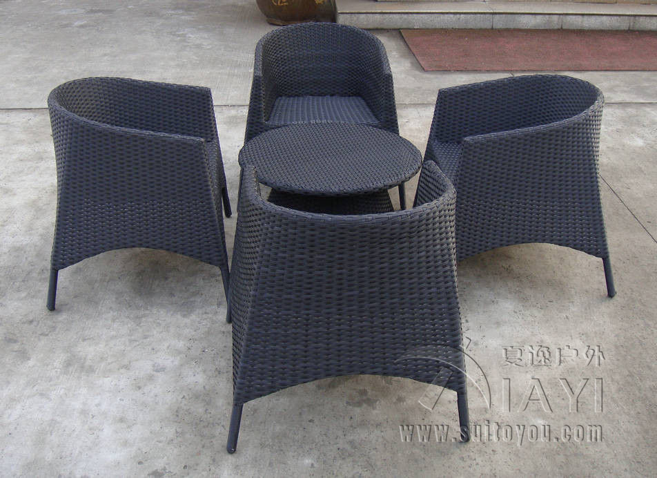 5 Pcs Plastic Rattan Garden Dining Sets Strong Brown Table Set Transport By Sea
