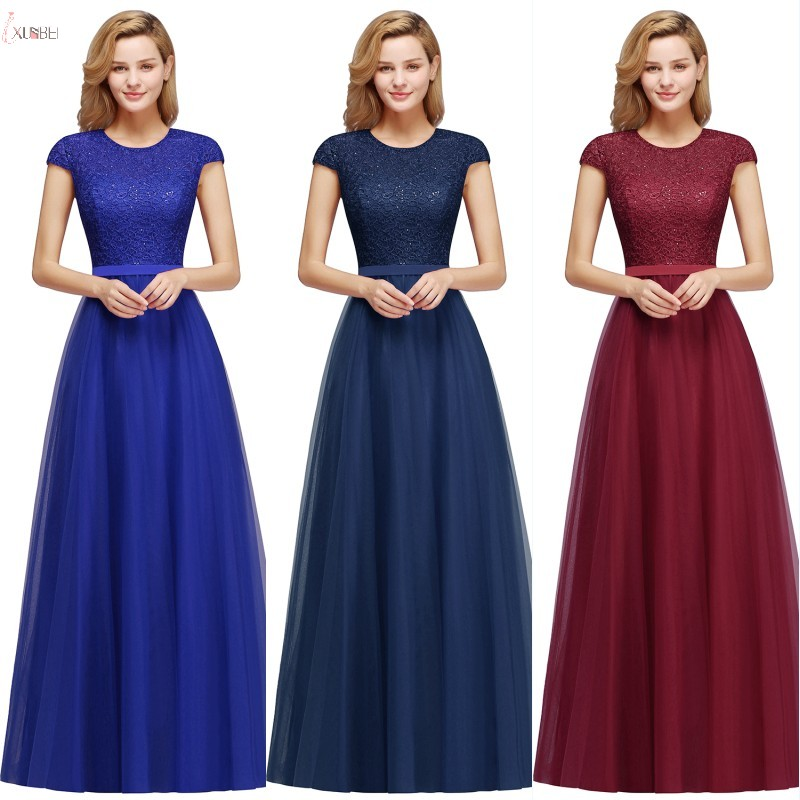 New Chic Elegant Burgundy Navy Blue Royal Blue Tulle Long   Bridesmaid     Dresses   2019 A line Wedding Party   Dress   vestido madrinha