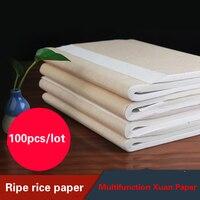 100 unids/lote papel de arroz maduro Xuan papel de caligrafía Creación de pintura china pintura de papel especial pequeño cepillo de papel de escritura