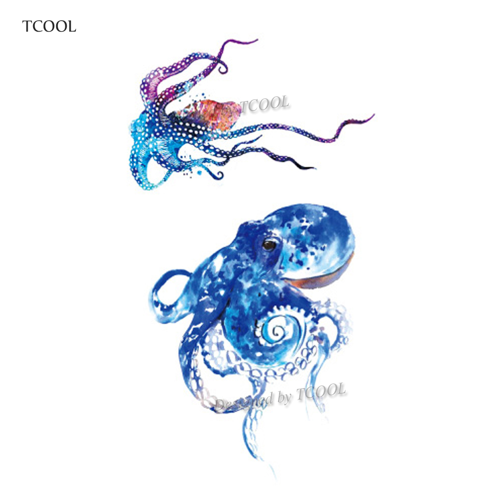 HXMAN Watercolor Octopus Temporary Fake Waterproof Tattoo Body Art Sticker Waterproof Kids Hand Tattoo For Men 10.5X6cm A-238