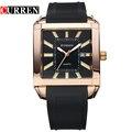 2016 hombres de pulsera de cuarzo Reloj CURREN marca relojes moda negocios Reloj del cuadrado del silicón correa del Reloj para hombre relojes