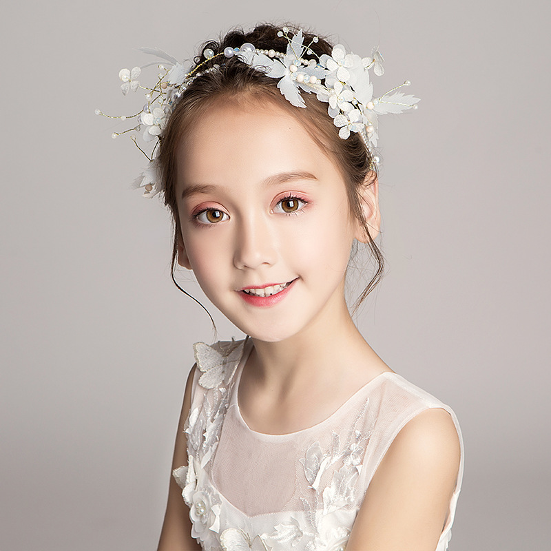Girls Show White Hair Accessories Headband Children Princess Pearl Headband Flower Girl Wedding Dress Accessories Headdress