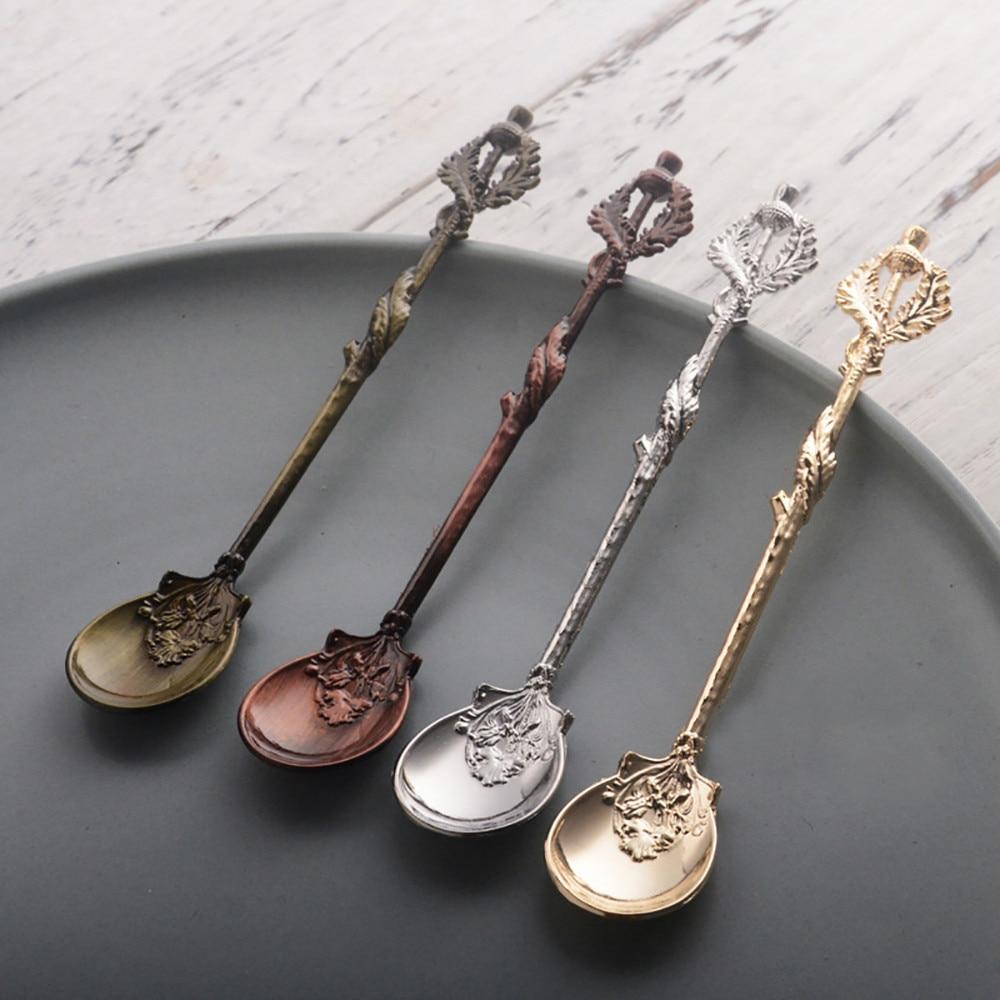 Exquisite Retro Tea Spoon Coffee Shovel Wooden Handle Zinc Alloy Scoop 18CM New