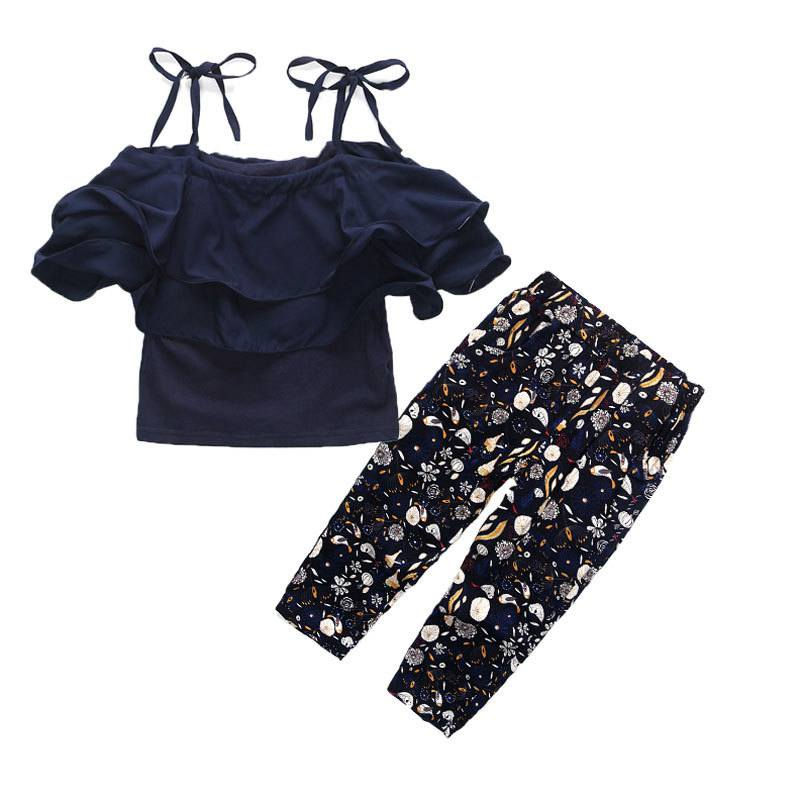 Autumn clothing set for <font><b>girls</b></font> ruffle strapless shoudler design top +Pattern pants 2pcs for <font><b>girls</b></font> <font><b>teenager</b></font> <font><b>clothes</b></font> summer wear image