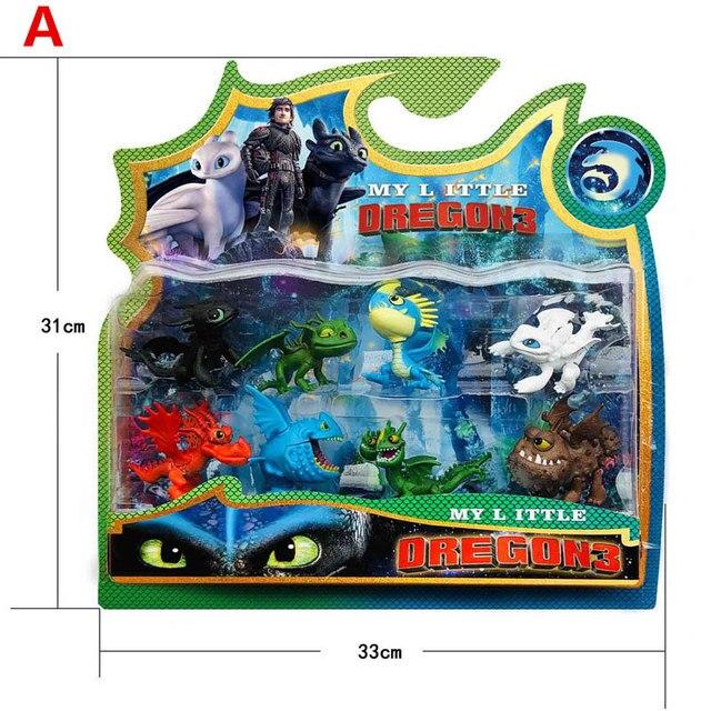 7 ~ 13 3 pçs/lote Como Treinar O Seu Dragão Figura PVC Brinquedos Hiccup Desdentado Mortal Nadder Gronckle Crânio Noite fúria Dragão Figuras