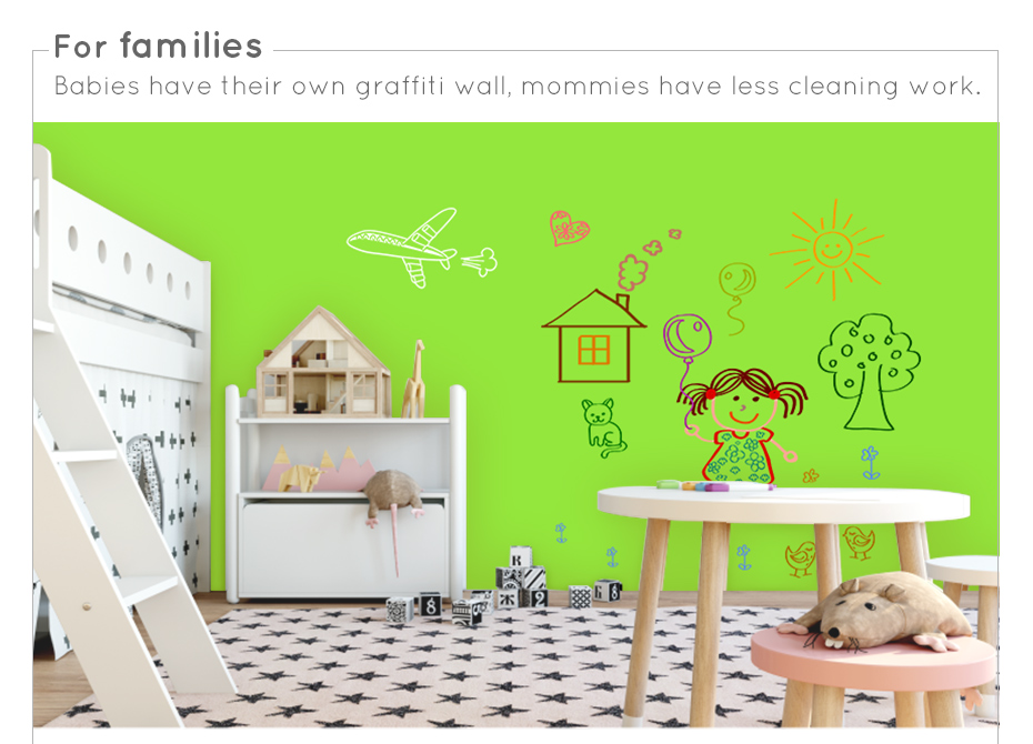 930_07 New creative ferrous whiteboard DIY Green board Message Board waterproof Wall Sticker 150 cm x 100 cm x 0.6 mm