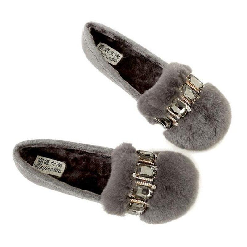 Felpa Invierno Señoras 42 Mujeres Fur Grande Mocasines Rabbit Mocasín Nuevo naranja gris Pisos Cadena Diseñador Zapatos Piel Mujer Negro 43 Tamaño z7BzqrOw
