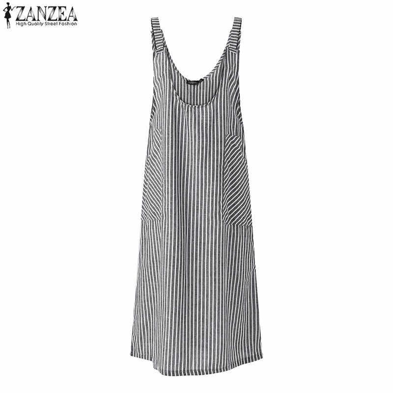 473cd7417b ... 2018 Summer ZANZEA Elegant Women Strappy Striped Dungarees Casual Pockets  Sleeveless Baggy Split Hem Vestido Suspender ...