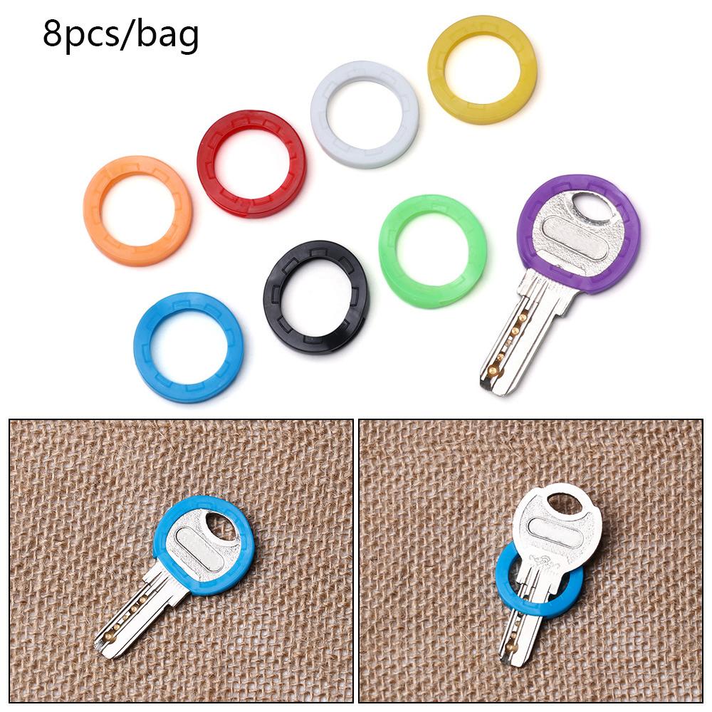 8Pcs Random Color Hollow Silicone Key Cap Covers Topper Key Holder Elastic Keyring Rings Key Case Bag Organizer Wallets 2021 Hot