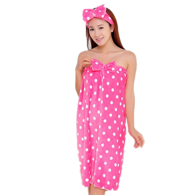 High Quality Womens Cute Dot Bath Towel Set With Hair Band Bathrobe Home Textile Items Gear Stuff Accessories Supplies
