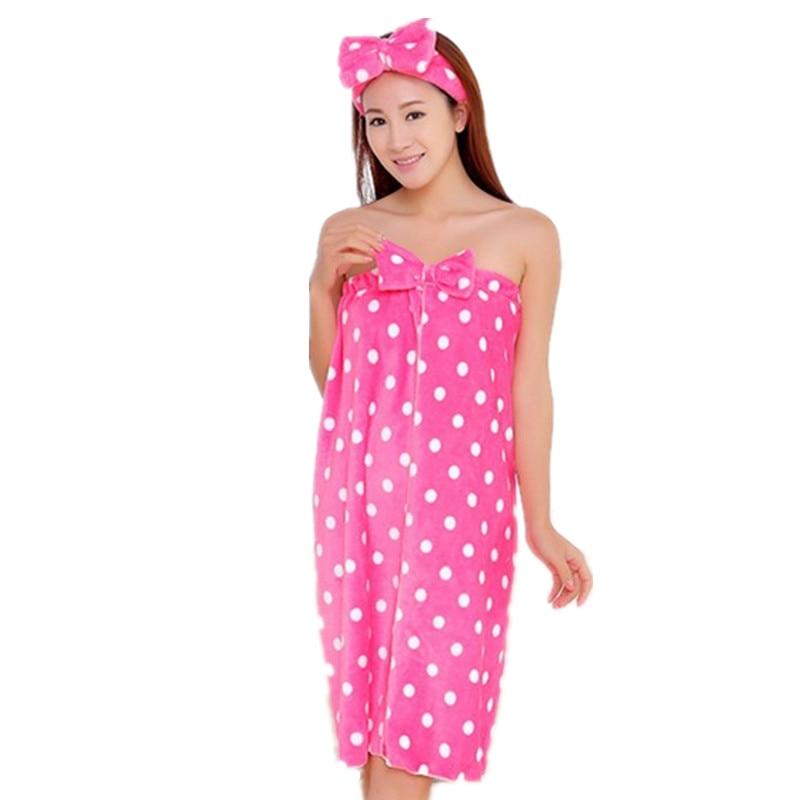 High Quality Womens Cute Dot Bath Towel Set With Hair Band Bathrobe Home Textile Items Gear Stuff Accessories Supplies