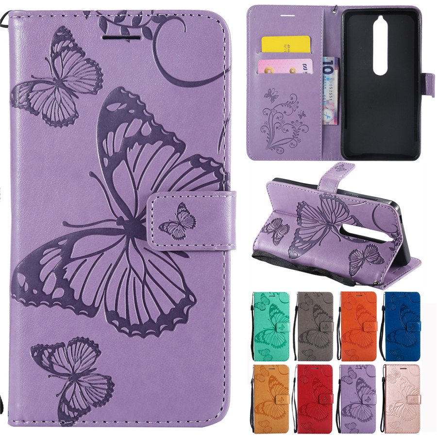 Butterfly Case on for Nokia 6 2018 /Nokia 6.1 Covers for Fundas Nokia 6 2018 Case Leather Phone Cases for Nokia 3.1 5.1 6.1 2.1