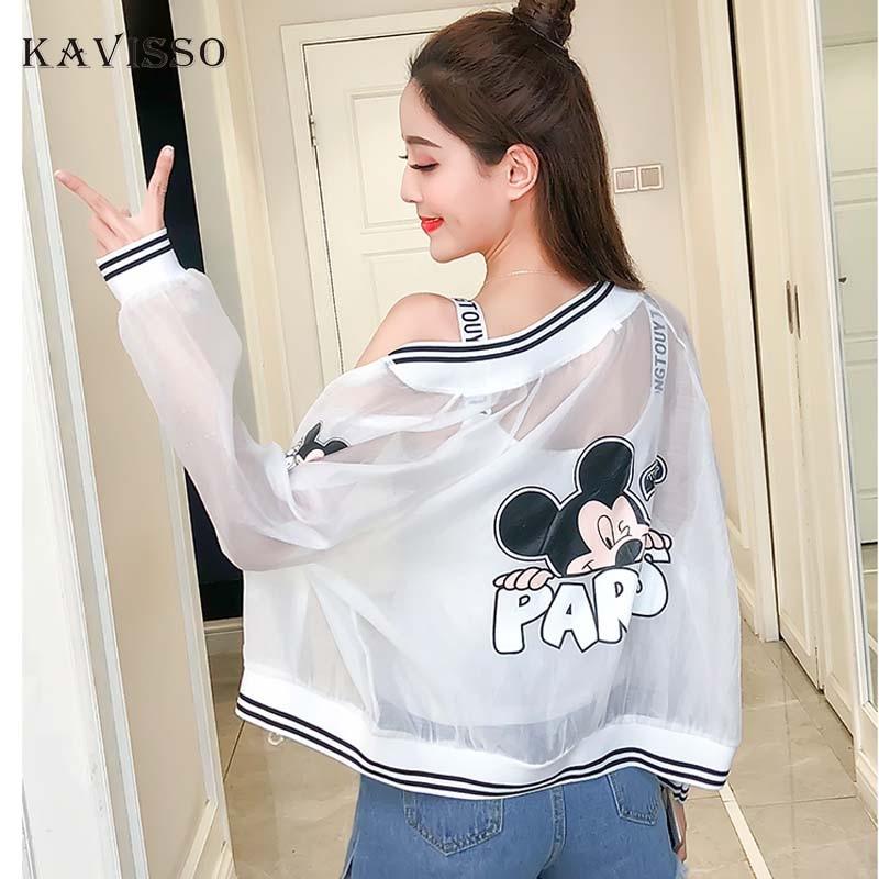 2018 Cute Mickey Mouse Transparent Jacket Summer Coat Women Streetwear Thin Sun Protection Clothes chaquetas jaqueta feminina