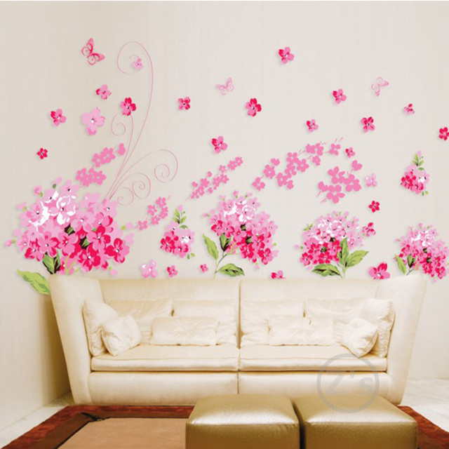 Lovely Zs Sticker Television Flowers Cherry Blossom Wall Sticker Pink Home Decor  Adhesive Removable Vinyl