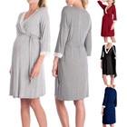 Maternity dresses Clothes Womens Lace Pregnants Short Long sleeve Casual Nursing Grey Dresses Baby Maternity Pajamas Dress