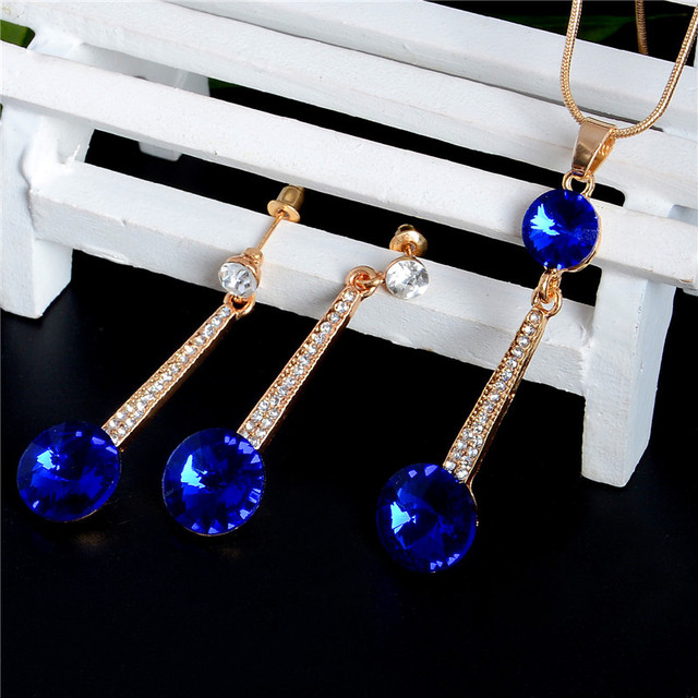 Gold Color Pendants & Necklace Stud Earrings Blue Natural Stone Cubic Zirconia Crystal Romantic Bridal Jewelry Sets 4