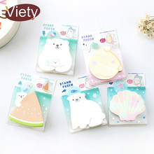 1 x polar bear shell stand memo pad sticky notes paper sticker notepad kawaii stationery pepalaria office school supplies(China)