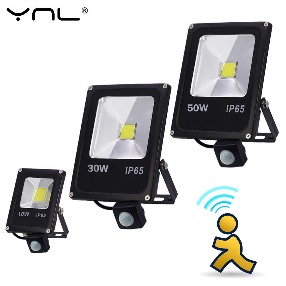 Motion Sensor LED Flood Light 50W 30W 10W 220V searchlight Waterproof Floodlights Reflector foco Led Exterior Outdoor Spot Light