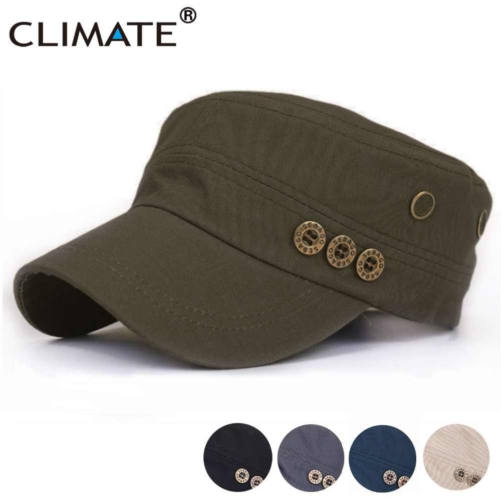 3c127a3793ea7f CLIMATE Men Army Military Caps Men Cotton Solid Army Cap Green Flat Top  Caps Hat Men